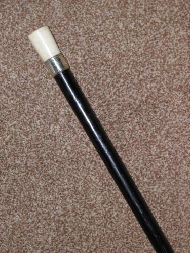 Antique Hallmarked 1914 Silver Pommel Topped Ebony Walking Stick / Cane - 92cm (1 of 13)