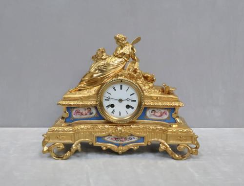 French Napoleon III Bronze Gilt & Porcelain Mantel Clock by Vincenti (1 of 9)