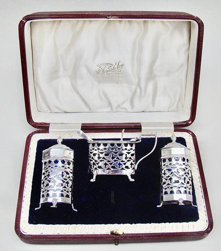 Stunning Edwardian Silver Three Piece Condiment Set by Charles Horner, Birmingham 1903 (1 of 8)