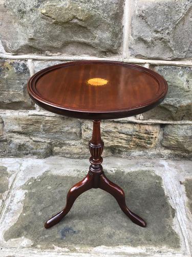 Inlaid Mahogany Tripod Wine Table (1 of 5)