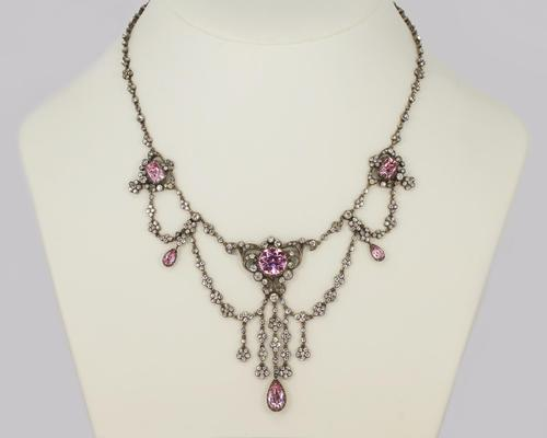 Antique Festoon Georgian Necklace Pink & Clear Paste Silver Swag Necklace c.1800 (1 of 9)