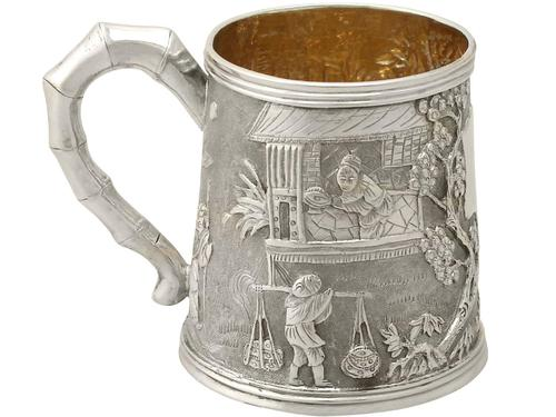 Chinese Export Silver Christening Mug - Antique c.1800 (1 of 12)