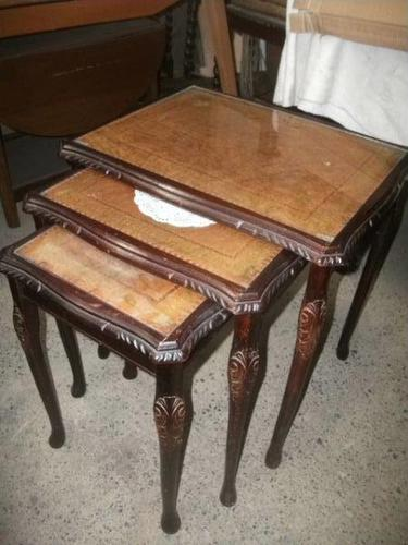 Nest of 3 Leather Top Tables (1 of 2)