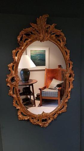 Antique Oval Timber Gilt Wall Mirror (1 of 6)