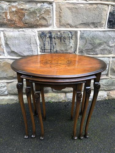 Antique Nest of 3 Figured Walnut Tables (1 of 7)