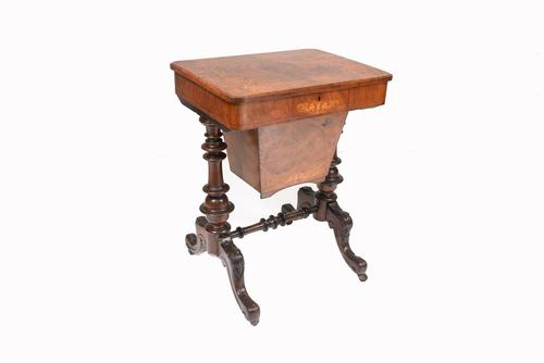 Victorian Sewing Table Antique Burr Walnut 1860 Side Tables (1 of 11)