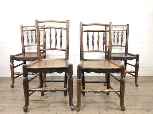 Set of Four 19th Century Elm Country Chairs (1 of 13)