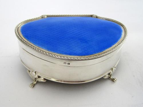 Large Silver Jewellery or Trinket Box with Blue Enamel Lid (1 of 8)