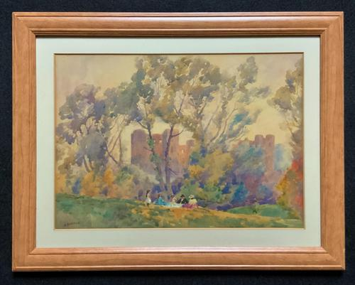 Outstanding 20thc Signed Autumn Landscape Castle Ruin Watercolour Painting (1 of 11)