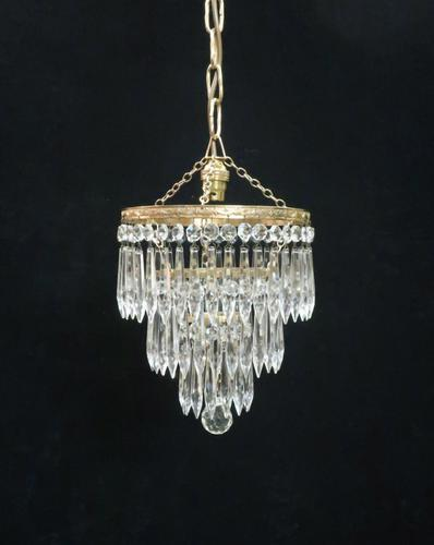 Italian Art Deco Three Tier Crystal Glass Chandelier with Sphere (1 of 7)