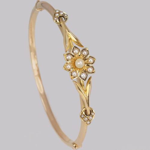 Belle Epoque 15ct Gold Pearl Bangle Edwardian Antique Pearl Bracelet c.1905 (1 of 11)