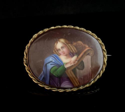 Antique Porcelain Portrait Brooch, 19th Century (1 of 8)