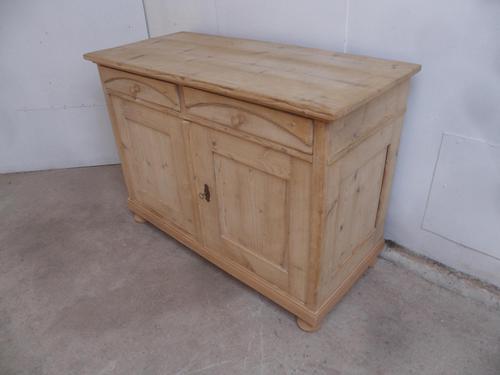 Victorian Large Beeded Antique Pine 2 Door Dresser Base to wax / paint (1 of 10)