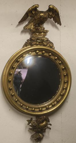Regency Period Convex Mirror Eagle pediment (1 of 4)