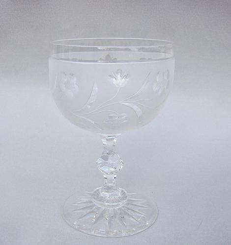 Superb Victorian Cut & Frosted Glass Wine Goblet c 1870 (1 of 6)