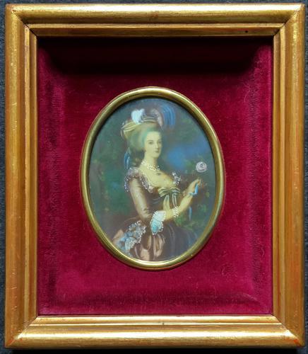 Gorgeous Original Vintage Miniature Portrait Oil Painting in 18th Century Manner (1 of 10)