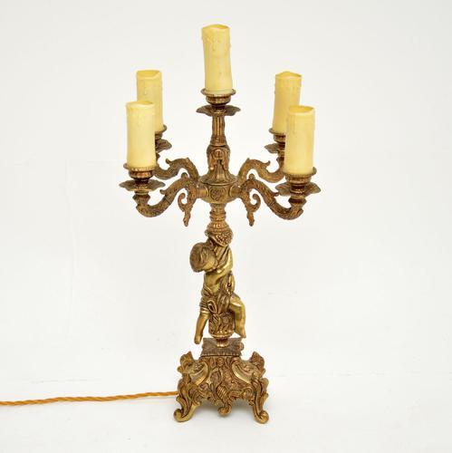 Antique French Gilt Metal Cherub Lamp (1 of 9)