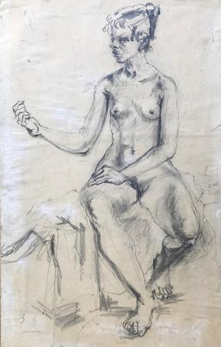 Original pencil drawing 'Seated nude' by Felix Topolski 'attributed' 1907-1989 (1 of 4)