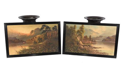 Pair of Romantic Oil Paintings English Landscape Barnstable Devon (1 of 9)