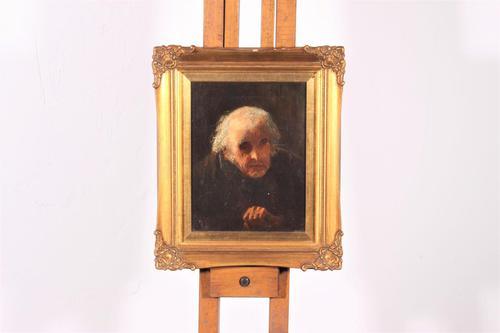 20th century oil on canvas depicting an elderly gentlemen (1 of 3)