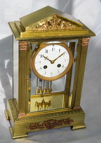 Slim French Four Glass Mantel Clock (1 of 6)