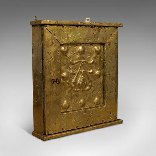 Petite Corner Cupboard, Brass, Mahogany, Wall, Cabinet, Art Nouveau, Victorian (1 of 12)