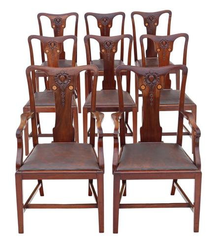 Set of 8 Inlaid Mahogany Dining Chairs Art Nouveau c.1910 (1 of 10)