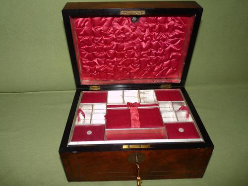 Inlaid Figured Walnut Jewellery – Work Box. Original Tray. C1870 (1 of 13)