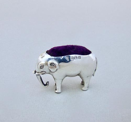Small Edwardian Sterling Silver Elephant Pin Cushion by the Boots Company, Birmingham 1908 (1 of 5)