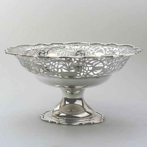 Very Fine Solid Silver Pedestal Pierced Bowl / Basket - Chester c.1937 (1 of 7)