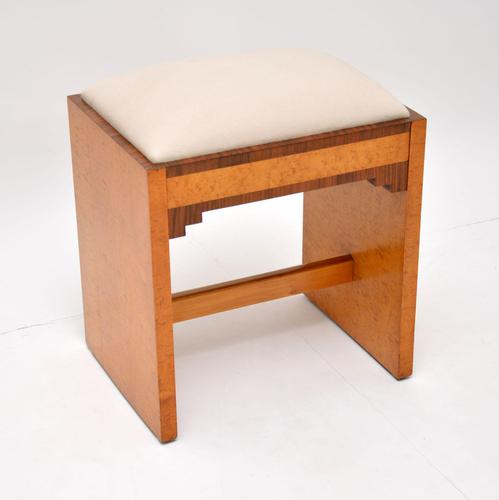 Art Deco Period Burr Maple & Walnut Stool (1 of 8)