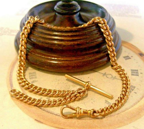 Victorian Pocket Watch Chain 1890s Antique Large 14ct Rose Gold Filled Albert With T Bar (1 of 11)