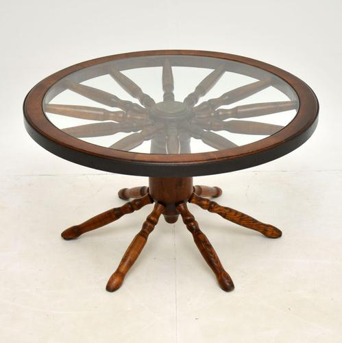 Vintage Glass Top Wagon Wheel Coffee Table (1 of 6)