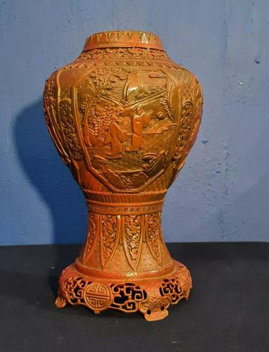 Antique 19th Century Asian Chinese Cinnabar Vase Urn (1 of 12)