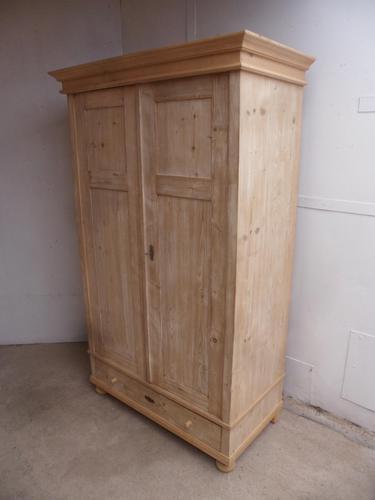 Narrow Antique Pine 2 Door Knockdown Small Wardrobe to Wax / Paint (1 of 12)
