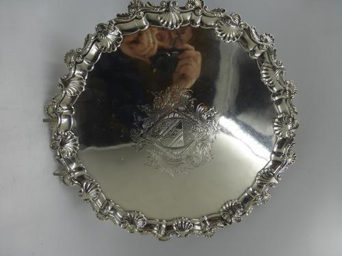 Antique George III Silver Salver London 1754 by Richard Rugg (1 of 9)
