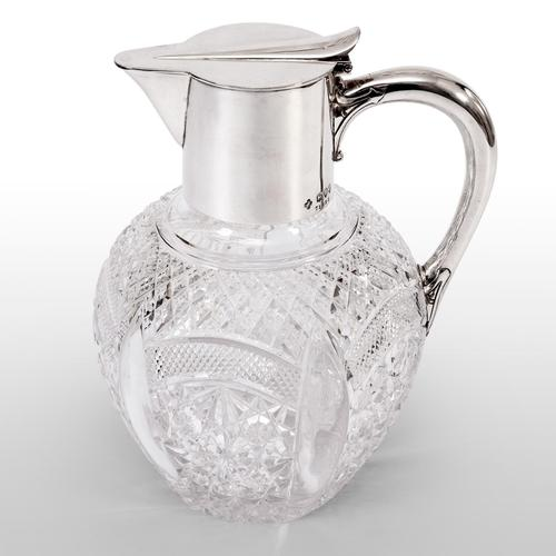 Late Victorian Silver Claret Jug with Clear Cut Glass Baluster Shaped Body (1 of 5)