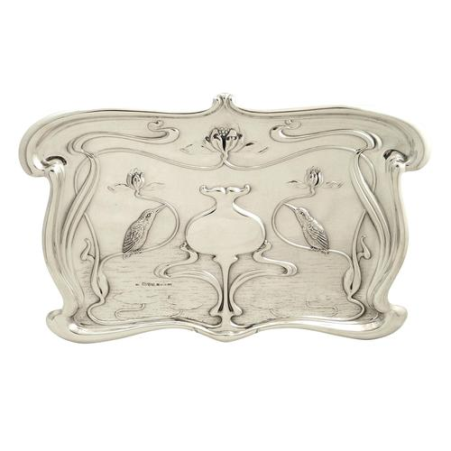 Antique Art Nouveau Sterling Silver Kingfisher Bird Dressing Tray 1903 (1 of 9)