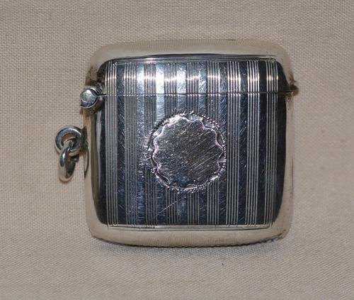 1908 Edwardian Sterling Siver Vesta Case by Birmingham Siversmith Hayes & Co (1 of 5)
