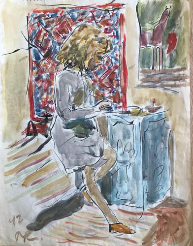 Original Watercolour 'Anna working' by Peter Potworowski 1898-1962. Initialled and dated 42. (1 of 1)