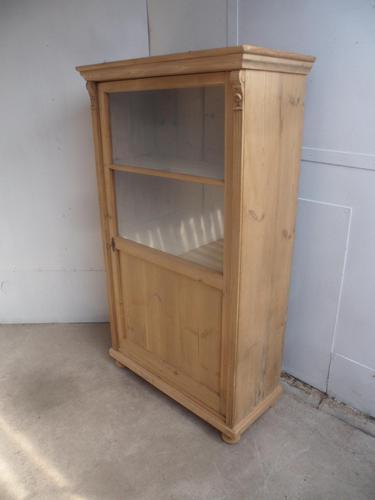 Shallow Victorian Antique Pine 1 Door Display Cabinet to wax / paint (1 of 10)