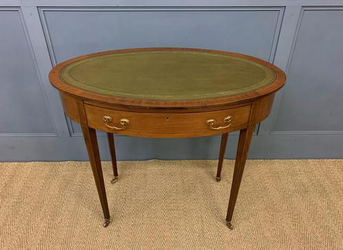 Edwardian Oval Inlaid Mahogany Writing Table (1 of 13)