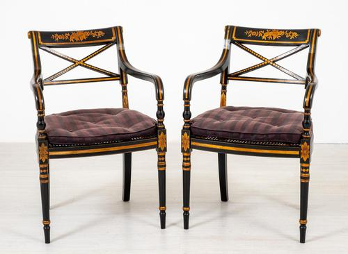 Pair of Ebonised Regency Style Open Armchairs (1 of 9)