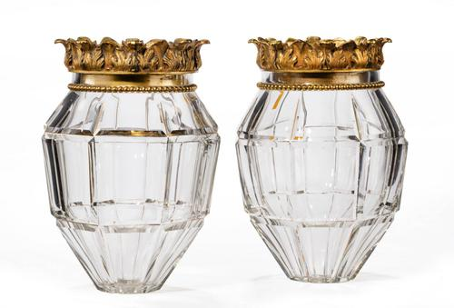 Pair of Early 20th Century Vase Lanterns with Bevelled Edges (1 of 3)