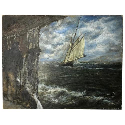 """20th Century Marine Oil Painting """"Sea Captains View From the Deck"""" Ships By Shoreline (1 of 15)"""