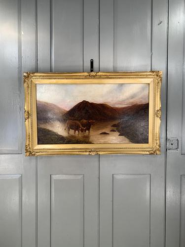 Antique Scottish landscape oil painting with Highland Cattle signed M Allinson 1 of 2 (1 of 10)