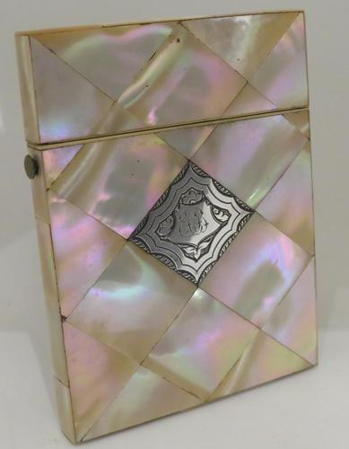 Victorian Abalone Card Case Silver Panel (1 of 7)