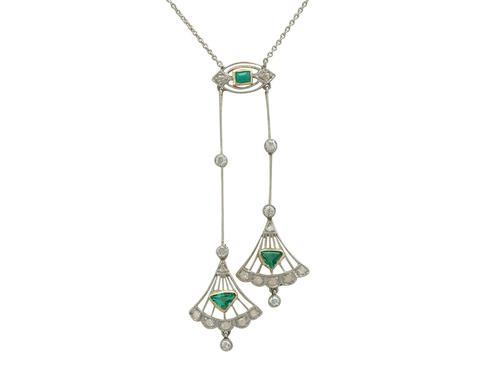 0.25ct Emerald & 0.30ct Diamond, 18ct Yellow Gold Necklace - Art Deco - Antique c.1920 (1 of 9)