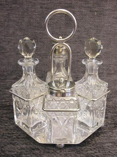 Antique Glass Cruet in Silver Plated Stand (1 of 8)