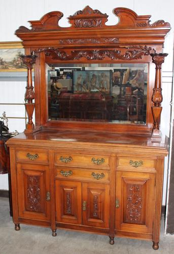 1900's Large Carved Walnut Sideboard with Mirror Back & Fluted Columns (1 of 3)